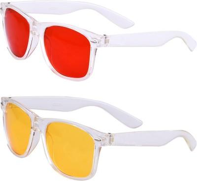 Amora Wayfarer Sunglasses(Red, Yellow)