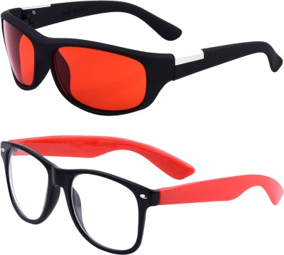 Amour Propre Wayfarer Sunglasses(Red, Clear)
