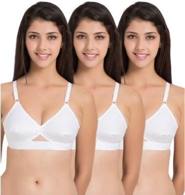 Apraa by Apraa Cotton Bra Women Full Coverage Non Padded Bra(White)