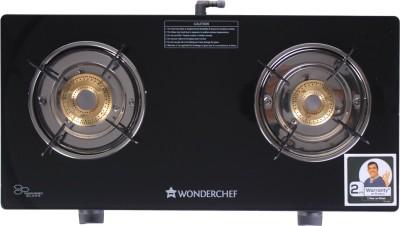 Wonderchef Ruby Black 2 Burner Glass Glass Manual Gas Stove  (2 Burners)