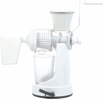 Floraware Plastic Hand Juicer Plastic Fruit and Vegetable Juicer with Waste Collector (White)(White)