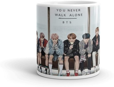 Youth Style BTS You Never Walk Alone Multicolour Printed Coffee And Tea Cup For Friend Gift for Brother, Husband,Wife 230 Ceramic Mug(320 ml)