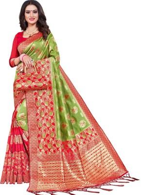 Krishna R fashion Woven Bollywood Jacquard Saree(Red, Light Green)