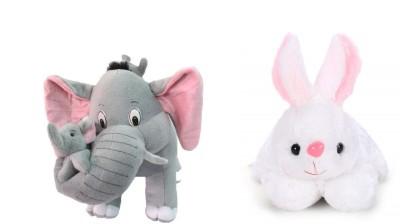 valentine Rabbit With Elephant   36 cm White, Grey