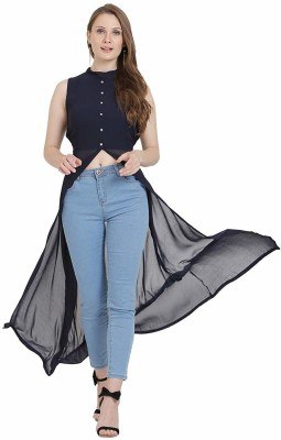 sangai its rare Casual Sleeveless Solid Women Blue Top