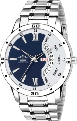 LimeStone LS2820 Bleed Blue Day and Date Functioning Steel Strap Adult Boys...