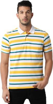 Peter England Striped Men Polo Neck Multicolor T-Shirt