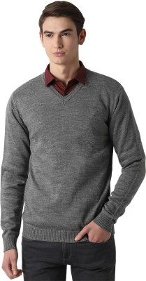 Peter England Self Design V Neck Casual Men Grey Sweater