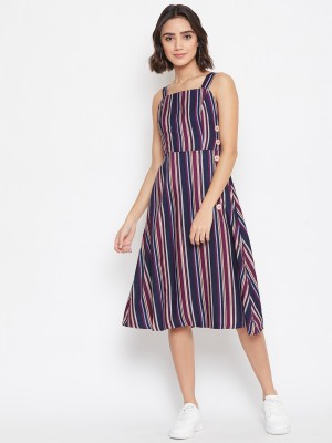Purys Women Fit and Flare Multicolor Dress