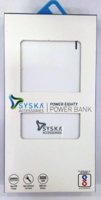 Syska 8000 mAh Power Bank  (White, Lithium-ion)