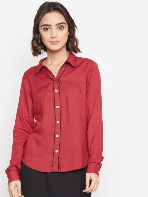 Purys Women Solid Formal Maroon Shirt