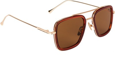Farenheit Retro Square Sunglasses(Brown)