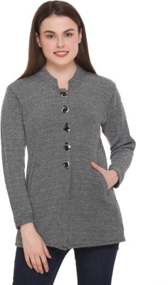 eWools Solid Casual Women Grey Sweater