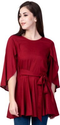 God Bless Casual Petal Sleeve Solid Women Maroon Top