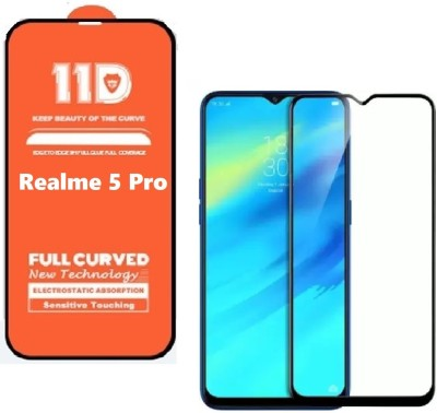 ISAAK Edge To Edge Tempered Glass for Realme 5 Pro Full Glue 11D(Pack of 1)