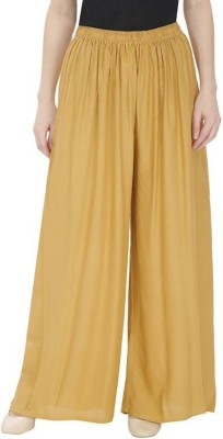 BuyNewTrend Flared Women Beige Trousers