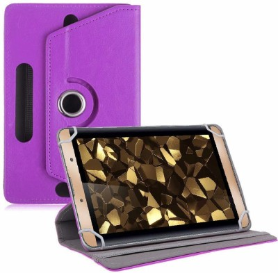 TGK Book Cover for iBall Slide Snap 4g2 7 inch Tablet Rotating Leather Case(Purple, Cases with Holder)