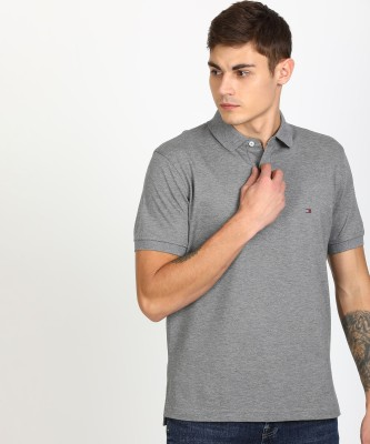 The Dry State Solid Men Polo Neck Grey T-Shirt