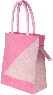 Foonty  FFFWB6010  Daily Use Jute Lunch Bag White, Pink, 12 inch
