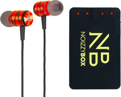 Noizzy Box Wired in-Ear Headphones with Mic Wired Headset with Mic(Orange::Black, In the Ear)