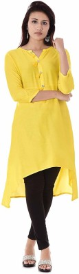 The youth style Women Self Design, Solid Anarkali Kurta Yellow