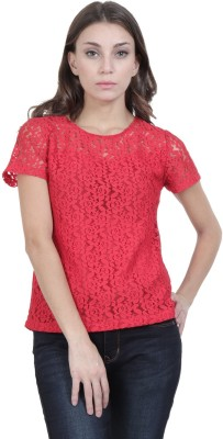 Florrie Fusion Casual Cap Sleeve Floral Print Women Red Top