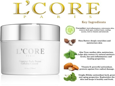 L'core paris ODY BUTTER REDUCES CELLULITE, STRETCH MARKS, REPLENISHES AND MOISTURIZES YOUR(250 ml)