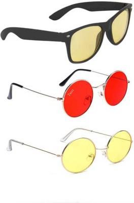 I KING Round, Wayfarer Sunglasses(Red, Yellow)