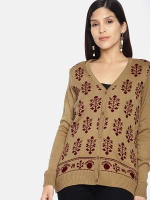 Anouk Self Design V Neck Casual Women Beige Sweater