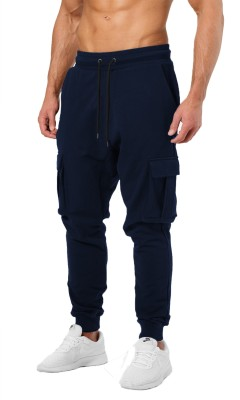 JUGULAR Solid Men Dark Blue Track Pants