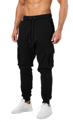JUGULAR Solid Men Black Track Pants