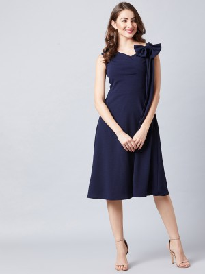 Athena Women Fit and Flare Blue Dress