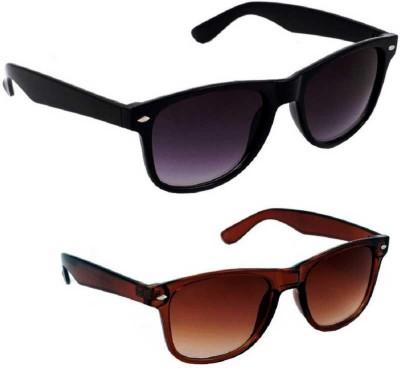Riffko Wayfarer Sunglasses(Black, Brown)