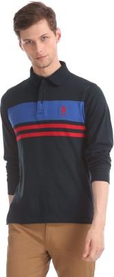 U.s.Polo Association Color Block Men Polo Neck Dark Blue T-Shirt