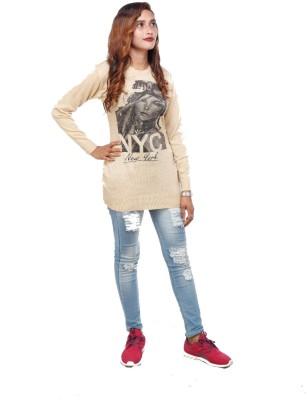 TrendyFusions Casual Full Sleeve Graphic Print Women Beige Top