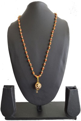 DCASE gold plated Pendant Set with Chain OM_Rudraksha Om pendant Cap Mala Gold-plated Pendant Set For Men & Women Gold-plated Wood, Alloy, Brass