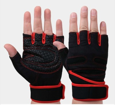 Liboni D-157 Red Gym Gloves/Cycling Gloves/Riding Gloves/Stretchable Gym & Fitness Gloves(Red)