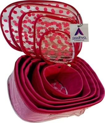 Aadhya POLKA DOT 5 KIT COSMETICS STORAGE MAKEUP BINDI Makeup Organizer Vanity Box(Pink)