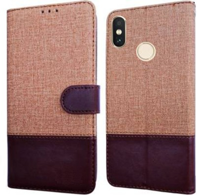 Spicesun Flip Cover for Mi Redmi Y2(Brown, Cases with Holder)