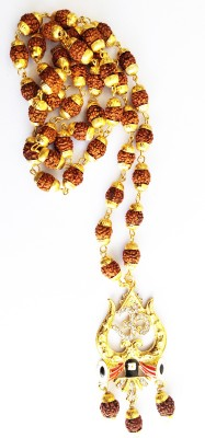 DCASE gold plated Designer lord shiv Damru/trishul OM design Pendant Gold-plated CAP RUDRAKSHA MALA Pendant Set For Men & Women Gold-plated Wood, Alloy, Brass