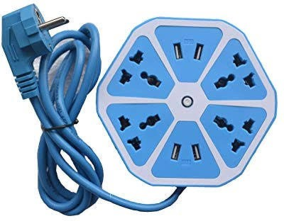 EWELL surge protector 4 Socket Extension Boards Blue EWELL Computer Peripherals