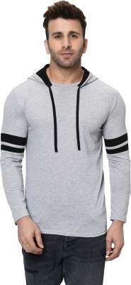 Jangoboy Printed Men Hooded Neck Grey T-Shirt