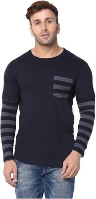 London Hills Striped Men Round Neck Blue, Grey T-Shirt