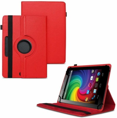 TGK Flip Cover for Micromax Funbook Mini P410i Tablet 7 inch 4GB, Wi-Fi3G+Voice Calling / Rotating Leather Case(Red, Cases with Holder)
