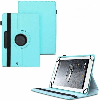 TGK Flip Cover for Micromax Canvas Tab P470 Tablet 7 inch/ Rotating Leather Stand Case(Blue, Cases with Holder)