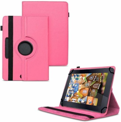 TGK Flip Cover for iBall Slide Q400x+ Tablet 7 inch 8GB Wi-Fi / Rotating Stand Case(Pink, Cases with Holder)