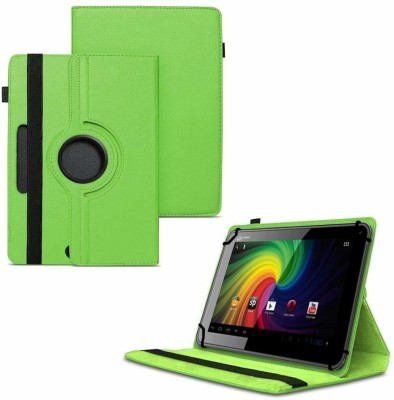 TGK Flip Cover for Micromax Funbook P255 Tablet 7 inch / Rotating Leather Stand Case(Green, Cases with Holder)