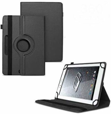 TGK Flip Cover for Micromax Canvas Tab P470 Tablet 7 inch/ Rotating Leather Stand Case(Black, Cases with Holder)