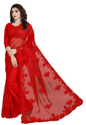 Gymfy Embroidered Bollywood Net Saree(Red)