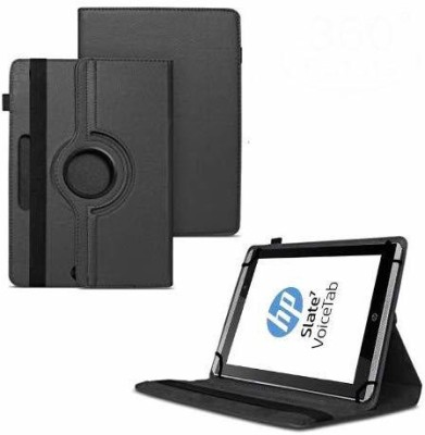 TGK Flip Cover for HP Slate 7 VoiceTab Tablet (WiFi, 3G, Voice Calling) 7 inch / Rotating Stand Case(Black, Cases with Holder)
